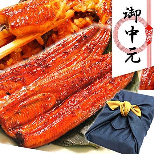 ギフト 鰻(うなぎ)の蒲焼2~3人分 風呂敷包みセット(紺色) 誕生日のプレゼントやギフトに