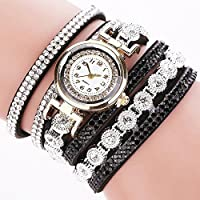 Fashion Womens Leather Weave Diamond Wild Analog Quartz Bracelet Wrist Watch