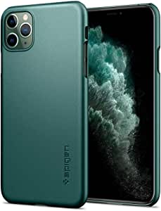 【Spigen】 iPhone 11 Pro ケース 5.8インチ 対応 超極薄 レンズ保護 超薄型 超軽量 指紋防止 マット仕上げ ワイヤレス充電対応 シン・フィット ACS00416 (ミッドナイト・グリーン)