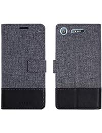 E&FASHION Sony Xperia XZ1キャンバス レザー ソニー エクスペリア XZ1 SO-01K SOV36 701SO 帆布とPU革+TPU カバー スタンド機能とカード収納、人気 おしゃれ アイフォン...