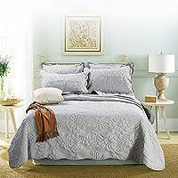 ベッドカバー ベッドスプレッド マルチ カバー キルト おしゃれ ダブル 綿100% 枕カバー 寝具カバーセット 3点セット/4点セット 四節適用 優しい肌触り-YT-M64 (グレー)
