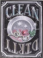 """磁気Clean Dirty Dishwasher Signプリミティブby Kathy 4"""" x 3""""チョークマグネット"""