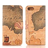 【レビュー記入で送料無料 メール便発送】 iPhone 7 / iPhone7 Plus 専用レザーケース 手帳型 地図柄 カード収納付け 【iPhone7 ケース Case iPhone 7Plus カバー アクセサリー iPhone 7 用】 (iPhone 7 Plus, ダークブラウン)