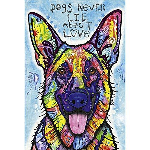 """[해외]Ingooood- 퍼즐 - 회화 시리즈 - 다채로운 애완 동물 그리는 「개는 결코 사랑에 대해 말하는 """"딘 루소 - 성인 1000 성장 나무 퍼즐 장식 장난감/Ingooood - Jigsaw Puzzle - Painting Series - Colorful Pet Drawing """"Dog never speaks a..."""
