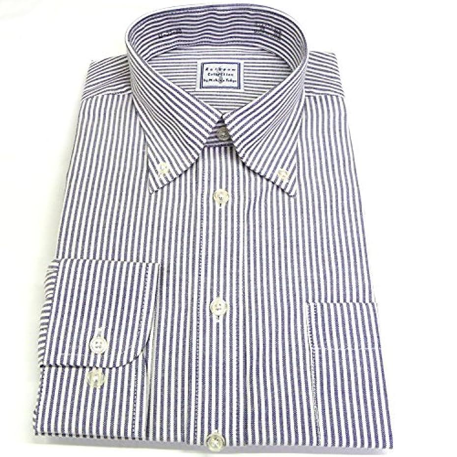 レディタバコ抑圧(レインポウ コレクション) Rainpow Collection オックスフォード ボタンダウン ワイシャツ 長袖 wox-06 ネイビーXホワイト 3Lサイズ