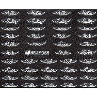 ネイルシール アルファベット 文字 ブラック/ホワイト 選べる40種 (ホワイトWP, 18)