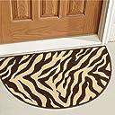 Lyla Zebraブラウンベージュ動物印刷ストライプモダン18 x 31 マット(非スリップ–Machine Washable) ゴムBackedキッチンバスルームエントリAccent Rug 18 x 31 Slice ブラウン