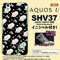 SHV37 スマホケース AQUOS U ケース アクオス ユー ソフトケース イニシャル 花柄・バラ(G) 黒 nk-shv37-tp257ini M