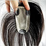 Richair 最高級 6cm*12cm ヘアピース 部分ウィッグ 人毛100% 二重構造 引き抜き式 つけ毛 ウィッグ 増毛部分かつら 人毛で制作 白髪隠れ 通気性よく ポイントウィッグ 自然な黒 (15cm)