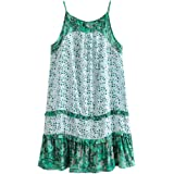 R.Vivimos Women Summer Spaghetti Straps Print Casual Long Dresses