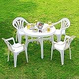 ガーデン ガーデンテーブルセット 5点セット パラソル穴付 スタッキングチェア 軽量 丸洗いOK ホワイト