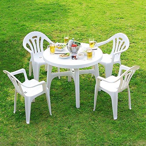 LOWYA (ロウヤ) ガーデン ガーデンテーブルセット 5点セット パラソル穴付 スタッキングチェア 軽量 丸洗いOK ホワイト