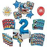 Mayflower Products きかんしゃトーマス タンクエンジン 2歳の誕生日パーティー用品 16人のゲスト用デコレーションキットとバルーンブーケ