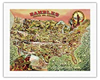我が国を散策 - 1890年代の米国地図 - ビンテージ イラスト マップ c.1890 - キャンバスアート - 51cm x 66cm キャンバスアート(ロール)