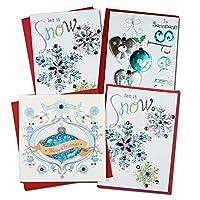 クリスマスカード 「テーマ別」 74 オーナメントと雪の結晶4点セット B