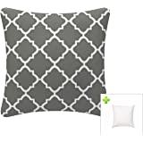 (Quatrefoil Lattice Grey) - Indoor/Outdoor Throw Pillow with Insert 46cm x 46cm Decorative Square (Grey, Quatrefoil Lattice)