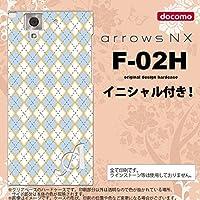 F-02H スマホケース arrows NX ケース アローズ NX イニシャル アーガイル 青×グレー nk-f02h-1413ini M