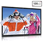 QKK Projector Screen 100inch 16:9 Front and Rear Projection Screen Portable Simple Mounted Screen Curtain for Home...