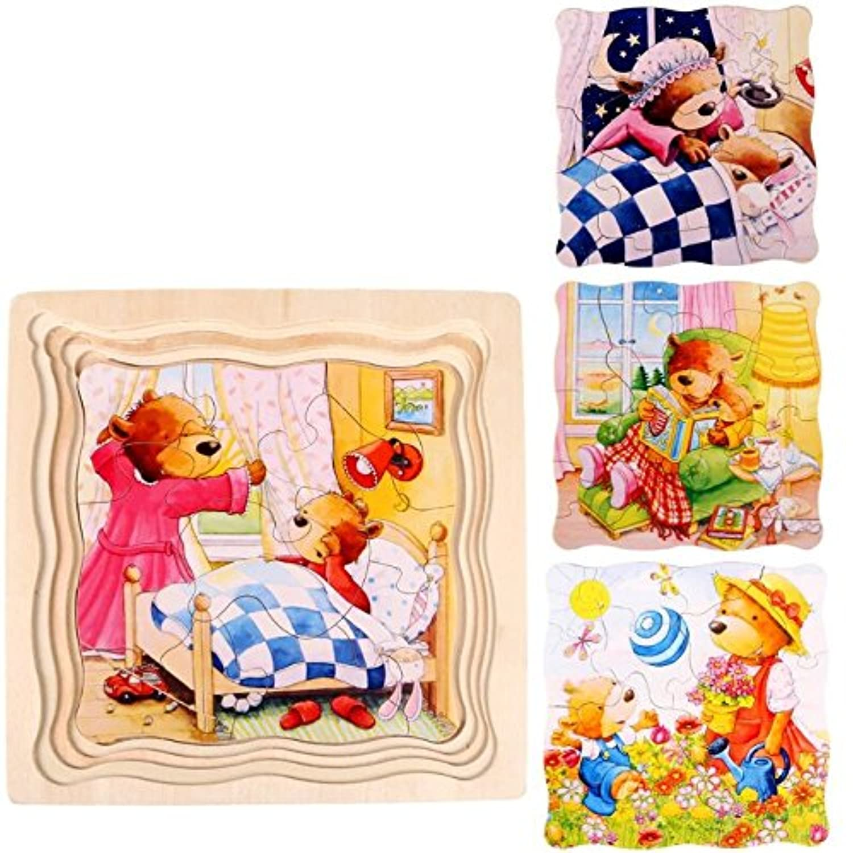 幼児期のゲーム 創造的な木製の漫画の多層パズルアーリーラーニング番号の形の色の動物のおもちゃ子供のための素晴らしいギフト(クマ)