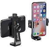 Zeadio Smartphone Tripod Holder, Cell Phone Mount Adapter, Selfie Stick Monopod Adjustable Clamp, Vertical and Horizontal Swi