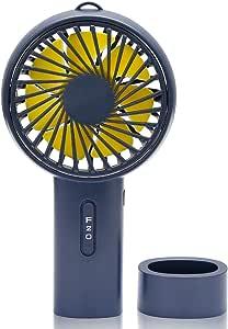 Jawwei 手持ち 扇風機 USB 卓上 ファン 超静音 小型 充電式 熱中症対策 ミニ扇風機 3段階風量調節 タンド機能付き 大容量 (インクブルー)