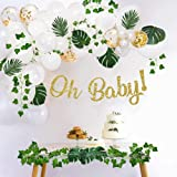 Sweet Baby Company Greenery Boho Baby Shower Decorations Neutral with Balloon Garland Arch Kit, Oh Baby Banner, Ivy Leaf Garl