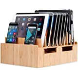 MobileVision Bamboo 10-Port Charging Station & Docking Organizer for Smartphones & Tablets, Family-Sized, for use in Corporat