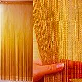 KJ ストリングカーテン 高さ 200cm × 横 100cm(フリンジ・ひものれん) (ゴールド)