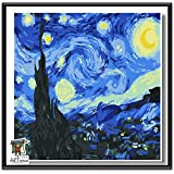 ARTomo【アトモ】パズル油絵『日本国内発送|フレーム付き|世界名画』数字 油絵 DIY 塗り絵 本格的な油絵が誰でも簡単に楽しく描ける 20x20cm (ゴッホ|星月夜(糸杉と村))