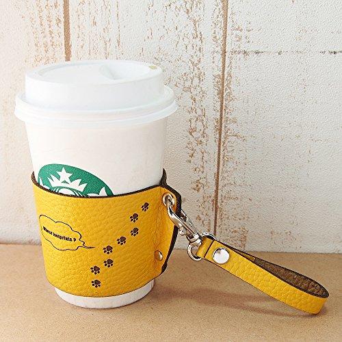 [ミリュ] ねこ 革 コーヒーカップスリーブ (姫路レザー/向日葵カラー)
