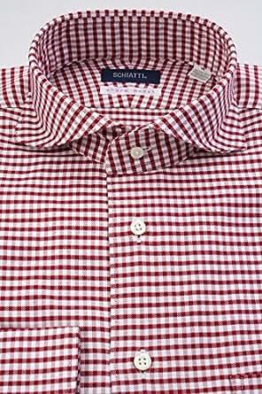 (スキャッティ) SCHIATTI 白 × 赤 ギンガムチェック バスケットオックス ホリゾンタルワイドカラー (細身) ドレスシャツ wd3956-4386