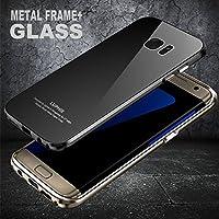 9H強化ガラスフィルム付き 贅沢ガラスGALAXY S7 edge ケース アルミバンパー 9Hガラスバックプレート ギャラクシーS7エッジケース docomo SC-02H au SCV33