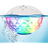 Pool Speaker with Colorful Lights, Portable Bluetooth Speaker IPX7 Waterproof, Floating Pool Speakers with Crystal Clear Ster