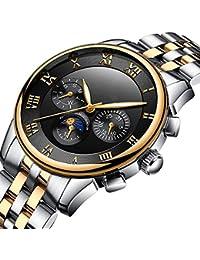 BesTn出品 腕時計 メンズ 機械式 自動式 ムーンフェイス 1ATM生活防水 日付 曜日 夜光 ステンレスバンド (GB)