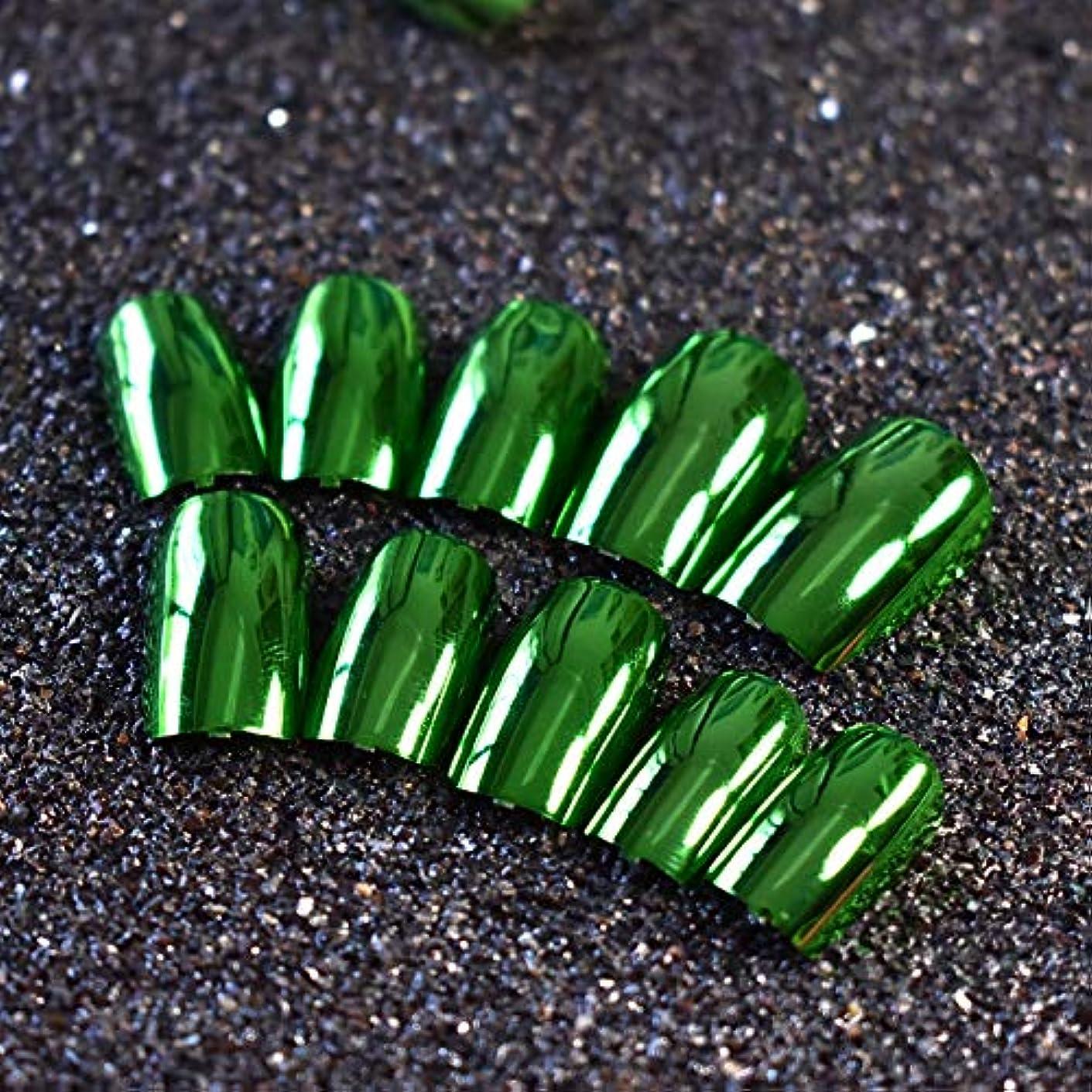 イソギンチャク読者疲れたXUTXZKA 24ピースメタリックグリーン偽ネイルフルカバーフェイクネイル人工装飾用のヒントマニキュアツール