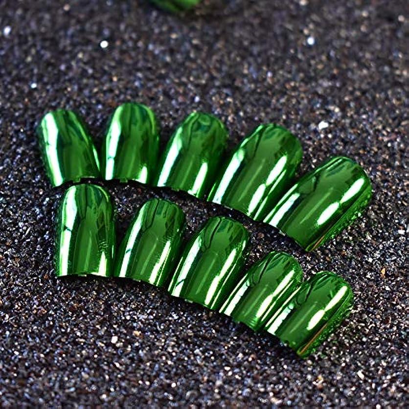 調和優しい解放するXUTXZKA 24ピースメタリックグリーン偽ネイルフルカバーフェイクネイル人工装飾用のヒントマニキュアツール