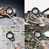 ルーペ21 mm Tripletレンズ10 x拡大鏡倍率LEDと紫外線 UVライト付き虫眼鏡 宝石鑑定 小さい物を観察 できる ポケット ルーペ メタルホルダー 拡大 持ち運び 手持ち(倍率10倍) 画像