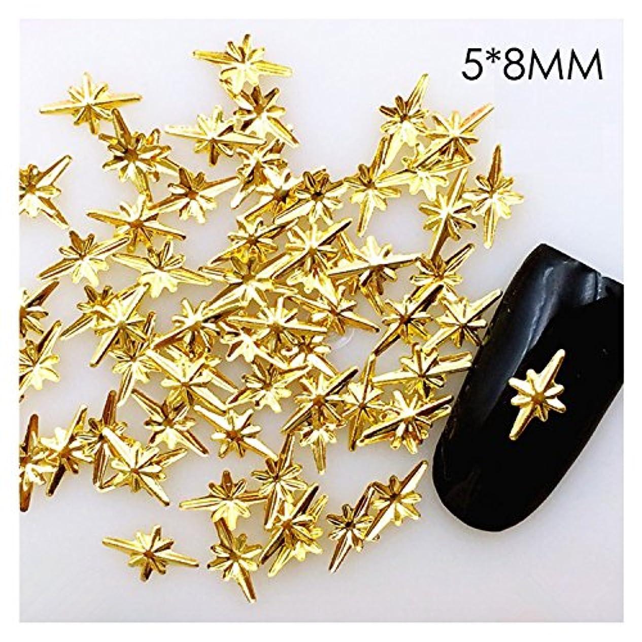 休暇接地除外する40個入り ダイヤ5*8ミリ 40個入り恒星 ゴールド メタルパーツ スタッズ ネイル用品 GOLD スター アート パーツ デコ素材