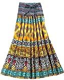 Lecpra (レクプラ) エキゾチック ボヘミアン ロング スカート 2WAY ワンピース レディース 紫 黄 橙 青 赤 (フリーサイズ) マキシ (イエロー)