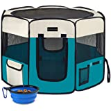 Autokcan Dog Playpen, Waterproof Portable Foldable Pet Playpen Dog Tent Indoor/Outdoor Use for Small Medium Dogs Cats with Co