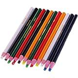 sharprepublic ダーマトグラフ 油性 色鉛筆 紙巻き マーキンググラフ クレヨン 赤 黄 緑 白 黒 青 24本入り