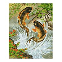 Demiawaking 5D 手作り ダイヤモンド絵画セット ラインストーン 貼れる ホームの装飾 7タイプ (鯉)