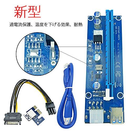 【1個】PCI-E 1x - 16x エクステンダーライザーカードアダプタ (ビットコイン採掘)+電源ケーブル 20cm+USB 3.0延長ケーブル 60cm