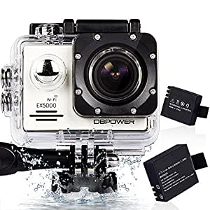 DBPOWER アクションカメラ 2インチ WIFI機能搭載 1400万画素 1080P フルHD 170度広角 30M防水 バイク/自転車/車などに取り付け可能 19個のアクセサリー付け シルバー