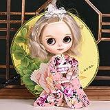 Kesoto 12インチブライスドール人形のため かわいい 花柄 きれい 着物ドレス ドール服 綿布製  - ピンク