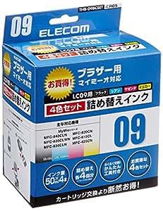 【2006年モデル】エレコム 詰め替えインク ブラザー LC09-4PK対応 4色セット 4回分 THB-09BCSET