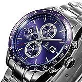 GuTe出品 腕時計 ステンレス ステンレスバンド 自動巻き メンズ クロノグラフ 格好良い IK Colouring パープル