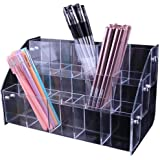 3 Layers Clear Acrylic Pen Holder Stationery Storage Brush Case Desktop Pencil Cup Organizer Display Stand Writing Pot
