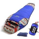 Sheng yuan マミー型寝袋 1500g高級ダウン詰め 軽量 コンパクト アウトドアキャンプ 車中泊 登山用 防寒性高い 民族風 ダウンシュラフ