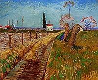 手描き-キャンバスの油絵 - Path Through a Field with Willows フィンセント・ファン・ゴッホ 芸術 作品 洋画 ウォールアートデコレーション VVG3 -サイズ09